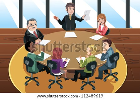 A vector illustration of a business people in a meeting in the office - stock vector