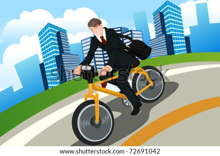 A vector illustration of a businessman riding a bicycle - stock vector