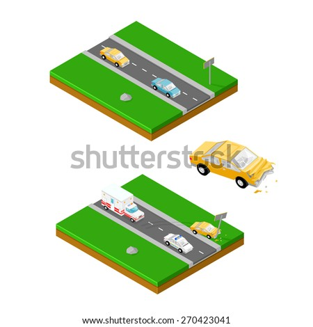 A vector illustration of a car accident. Isometric Car Accident Road crash with emergency response. - stock vector