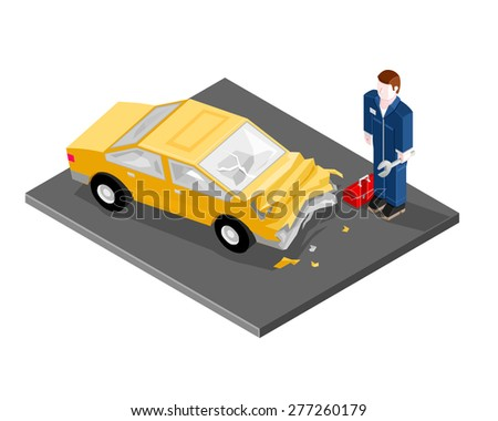 A vector illustration of a car mechanic repairing a car after a car crash. Car Mechanic repair service illustration icon. Isometric Mechanic fixing badly damaged vehicle. - stock vector