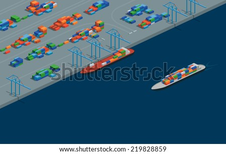 A vector illustration of a cargo port in isometric format. Editable with objects logically layered. The scene features containers, cranes, etc./Isometric Cargo Port - stock vector