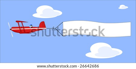A vector illustration of a cartoon plane pulling a blank banner - stock vector