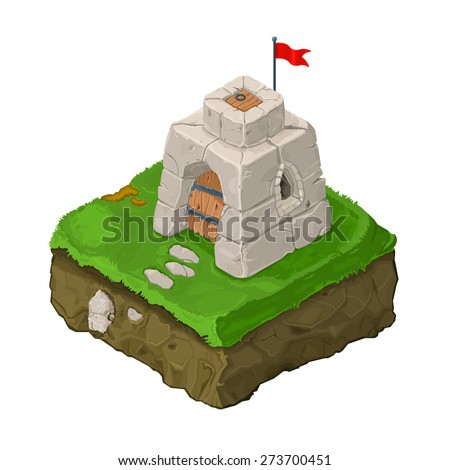 A vector illustration of a castle fort on land with red flag. Isometric Castle Fort. Isometric citadel on land. - stock vector