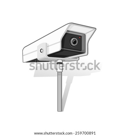 A vector illustration of a CCTV camera. CCTV camera. Big Brother is watching. - stock vector