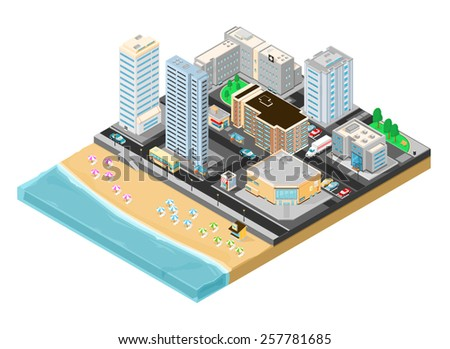 A vector illustration of a city beside the seaside for a vacation or holiday. City vacation. City beside the seaside for vacation. - stock vector