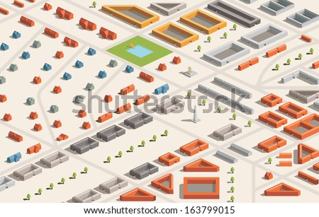 A vector illustration of a city in isometric format. Editable with objects logically layered. City features buildings, trees, church, swimming pool, etc./Isometric City - stock vector