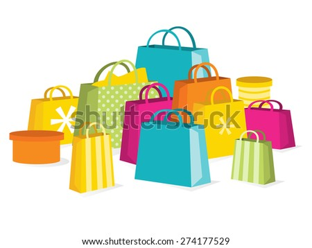 A vector illustration of a collection of colorful shopping bags to illustrate the concept of a great retail sale.