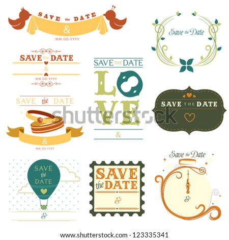 A vector illustration of a collection of save the date tag