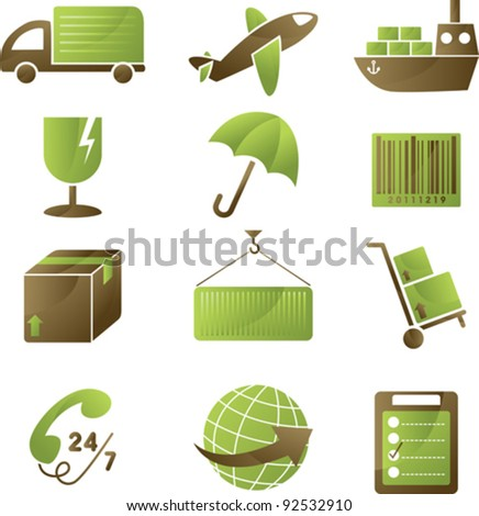 A vector illustration of a collection of shipping icons - stock vector