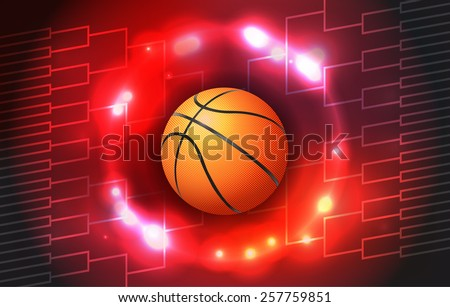 A vector illustration of a colorful basketball tournament ball and bracket. Vector EPS 10. EPS file contains transparencies and a gradient mesh. - stock vector