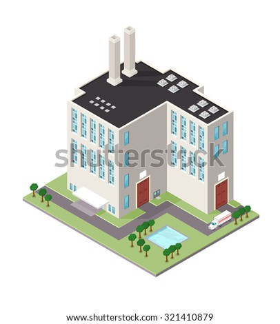 A vector illustration of a commercial industrial building with delivery truck. Isometric industrial refinery building icon illustration. Power station factory situated on land with trees.