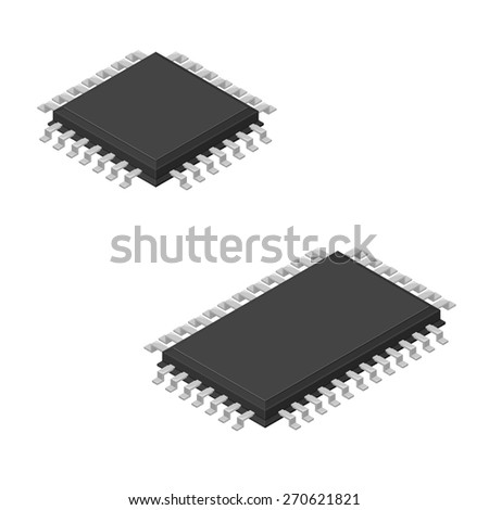A vector illustration of a computer micro processor. Isometric Computer processor. CPU Chip for computing. - stock vector