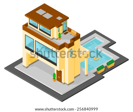 A vector illustration of a contemporary home with swimming pool. Isometric modern home with swimming pool. Modern isometric home. - stock vector