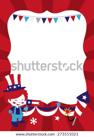 A vector illustration of a cute americana patriotic theme copy space filled with party bunting, happy clown kid, firecrackers and more.