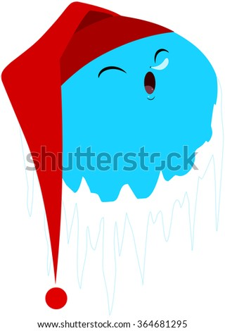 A vector illustration of a cute blue frozen planet with red hat sleeping. - stock vector