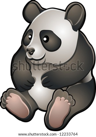 A vector illustration of a cute friendly giant panda bear