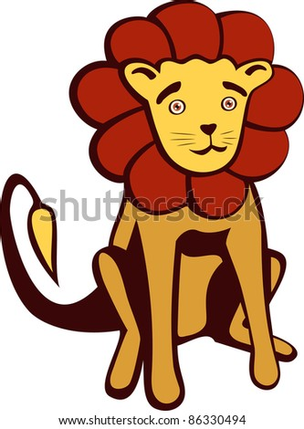 A vector illustration of a cute Lion. Can be recolored or scaled without problems and quality loss - stock vector