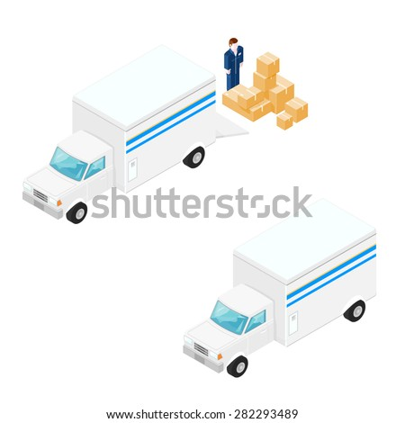 A vector illustration of a delivery truck with driver and boxes. Isometric Delivery truck icon illustration. vehicular transportation of commercial goods. - stock vector