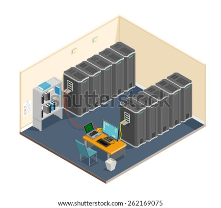 A vector illustration of a diagnostic test in a server computer room. Server test in room. Servers being tested in room. - stock vector