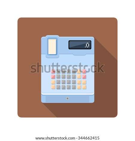 A vector illustration of a digital cash register.. Flat Icon of a cash register. Equipment for retail and business. - stock vector