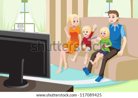 A vector illustration of a family watching movies/television at home - stock vector