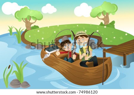 A vector illustration of a father and a son going fishing in the lake