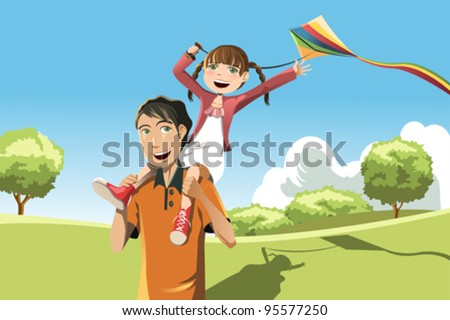 A vector illustration of a father and her daughter playing kite in the park - stock vector