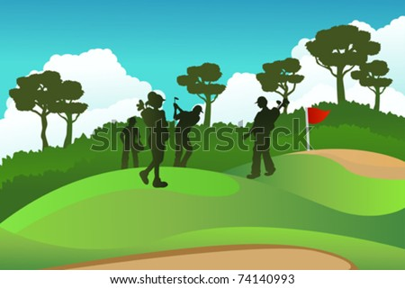 A vector illustration of a few golf players on a golf course - stock vector
