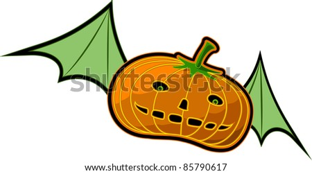A vector illustration of a flying Pumpkin. Can be recolored or scaled without problems and quality loss - stock vector