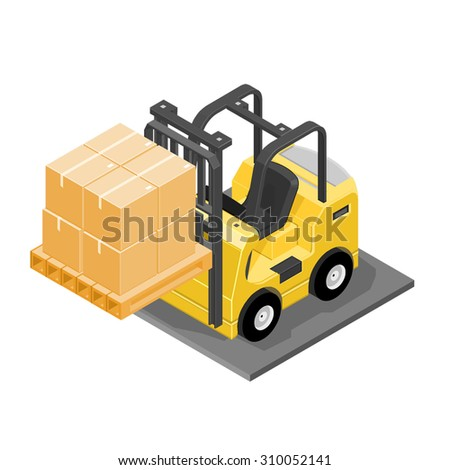 A vector illustration of a forklift truck carrying boxes. Isometric forklift truck icon illustration industrial vehicle loading and unloading cardboard boxes. - stock vector