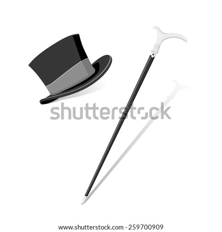 A vector illustration of a formal top hat and cane. Top hat and cane. Evening and formal wear. - stock vector