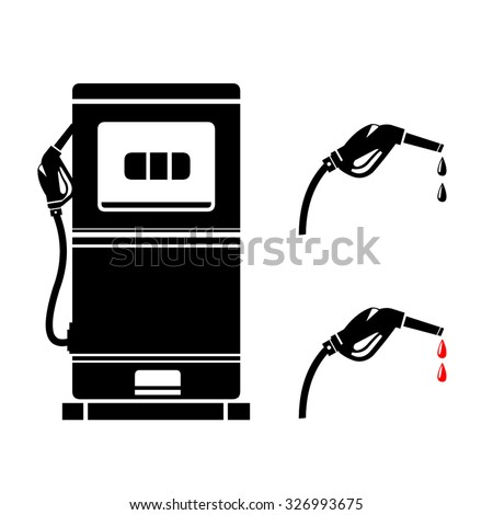 A vector illustration of a Fuel pump with separate. Vector Gas Station Petrol Pumps Icon illustration. Two Gas pumps Icon - depicting the petroleum industry or petrol station. - stock vector