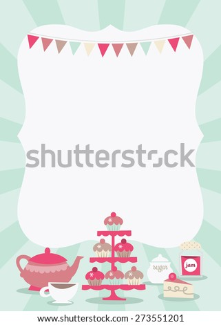 A vector illustration of a fun and retro tea party theme copy space in 5x7 dimension.  - stock vector