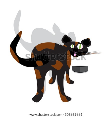 a vector illustration of a funny brindle curious cat trying to eat with arched back and tail up looking to the front - stock vector