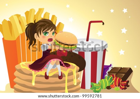 A vector illustration of a girl eating junk food - stock vector