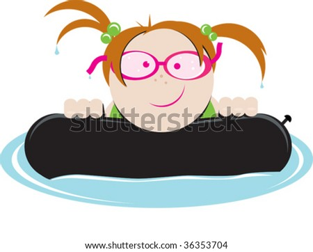 a vector illustration of a girl floating in an inner tube