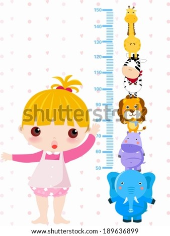 A vector illustration of a girl measuring her height - stock vector