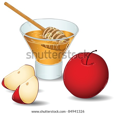 A vector illustration of a glass filled with honey and a special honey serving spoon and an apple and two slices of apple. - stock vector