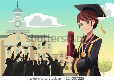 A vector illustration of a graduation girl holding her diploma with her friends in the background - stock vector