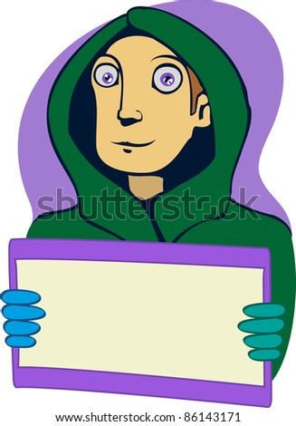 A vector illustration of a guy with a postcard.  Can be recolored or scaled without problems and quality loss - stock vector
