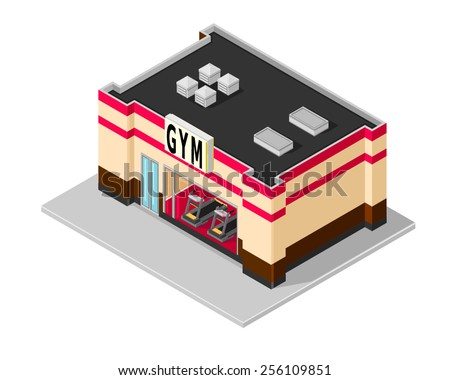 A vector illustration of a gym building with treadmills. Isometric Gym. Gym building. - stock vector