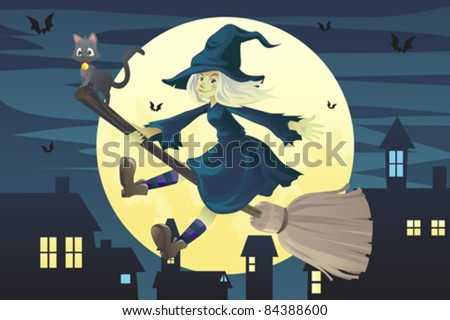 A vector illustration of a Halloween flying witch on a broomstick in the evening