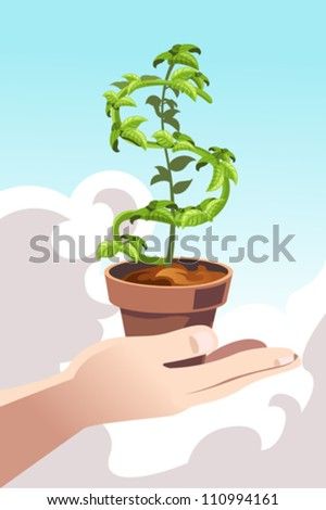 A vector illustration of a hand holding a plant shaped like a dollar sign - stock vector