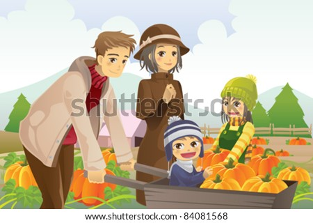 A vector illustration of a happy family on a pumpkin patch trip in autumn or fall season - stock vector