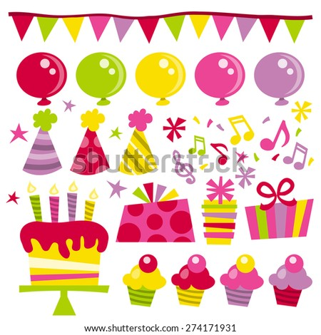 A vector illustration of a happy party time clip arts in retro style. Included in this set: balloons, bunting, party hats, stars, birthday cake, gifts and confetti. - stock vector