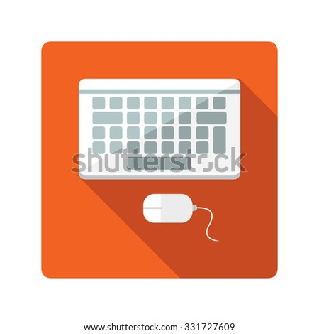 A vector illustration of a keyboard and mouse Computer keyboard and mouse Icon illustration. Flat Icon of computer peripherals.
