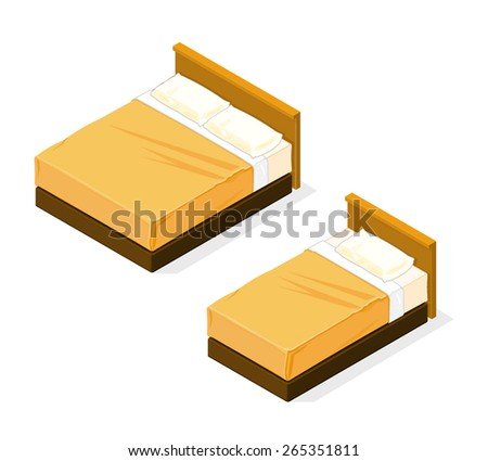 A vector illustration of a large and medium bed. Isometric Bed. Isometric tidy hotel beds. - stock vector