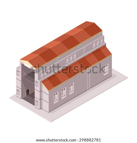 A vector illustration of a large industrial factory manufacturer. Large isometric factory icon illustration. Manufacturing plant or power plant. - stock vector