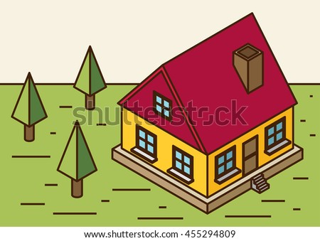 A vector illustration of a large new isometric home. Isometric home. New isometric home. - stock vector
