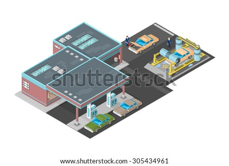 A vector illustration of a large Petrol Station car wash and shop. Gas Station with car wash icon illustration. Isometric filling station with car was and shop. - stock vector